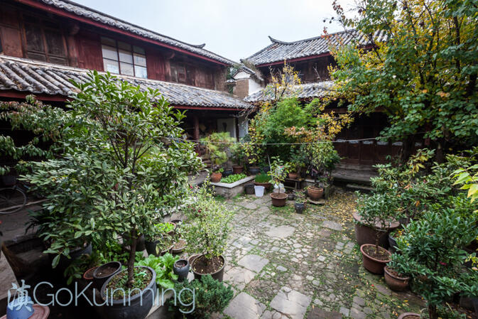 Inside the courtyard of Zhang Dehe's home