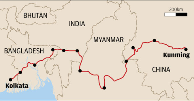 Route of the proposed BCIM Corridor connecting Kunming and Kolkata