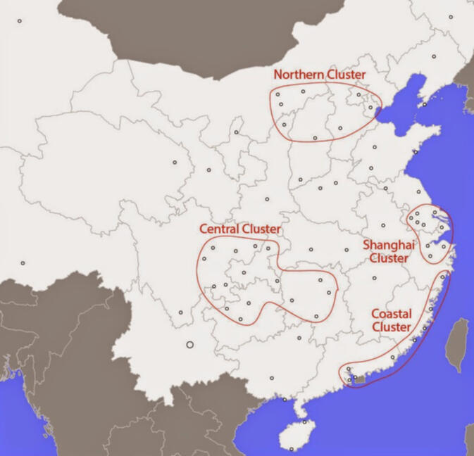 Cities connected to Kunming in the rest of China mainly cluster in four regions