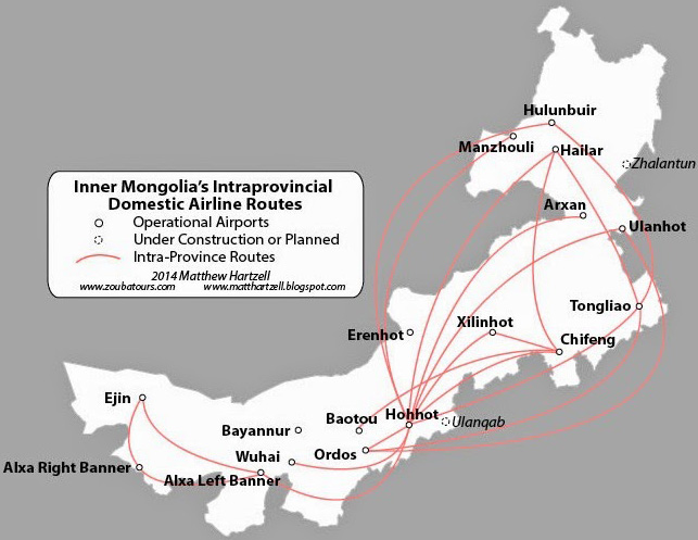 Only Inner Mongolia has more intraprovincial routes than Yunnan