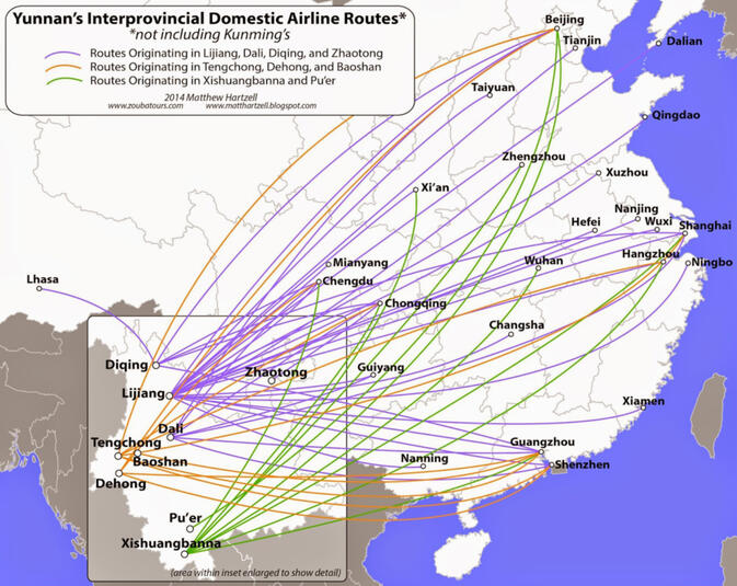 Interprovincial routes from Yunnan's regional airports