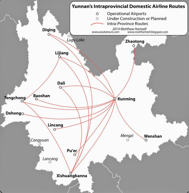 Intraprovincial domestic airline routes in Yunnan province