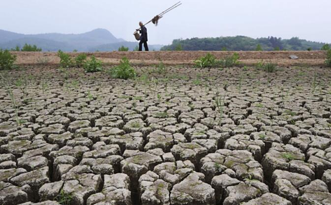 A view of a parched section of the Ludila reservoir (image credit Reuters via SCMP)