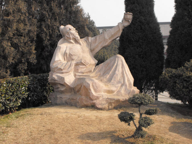 A statue of poet Li Bai, toasting the moon with wine