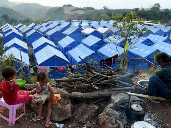 A Chinese camp for Burmese refugees in Yunnan's Gengma County
