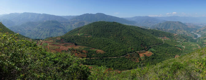 Haipo Mountain, once a World War II battlefield, ringed by the old Burma Road