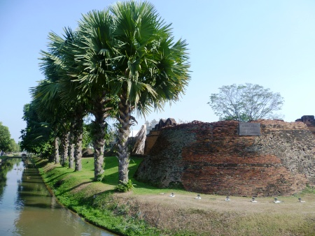 The moat and city wall ruins outside of Chiang Mai's old town