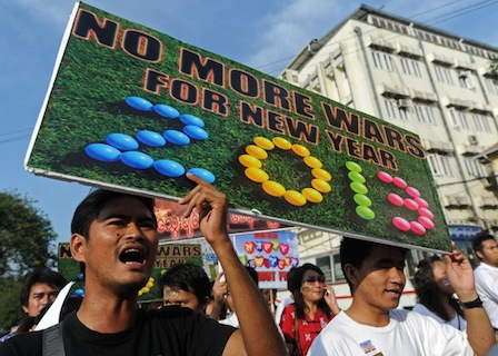 Protesters in Myanmar rallying against intensified fighting in Kachin state