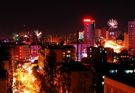 Fireworks over Kunming last year (photo courtesy of Tom Kirkpatrick)
