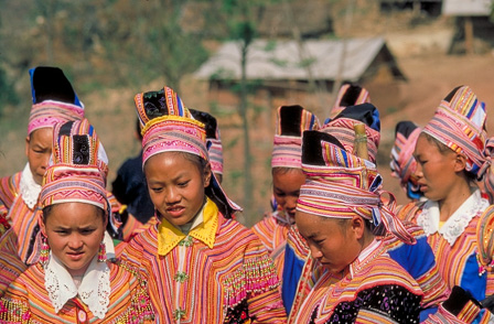 Miao children in traditional dress, Ailao Mountains
