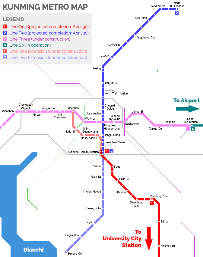 Kunming Metro Map.Kunming North South Metro Lines Near Completion Gokunming