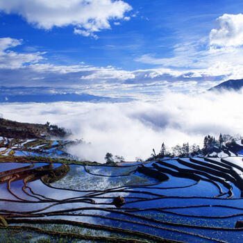 Clouds roll across the upper rice terraces