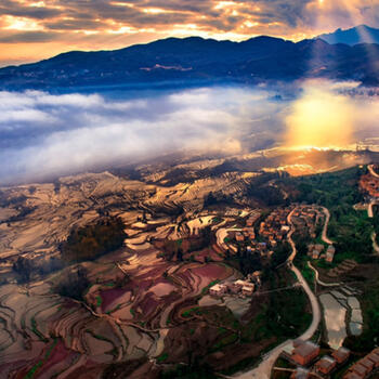 A beautiful shot of the 'Cloud Sea' at the Hani Rice Terraces in southern Yunnan