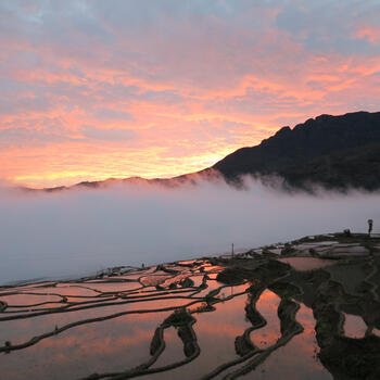 Dusk from atop the rice terraces in the village of Duoyishu (image credit: Chiara Ferraris)