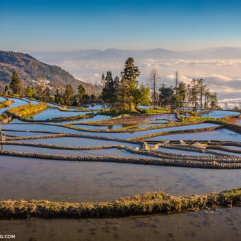 The Hani Rice Terraces in Yunnan sit fallow in the winter