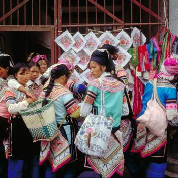 Hani women shop at a Yuanyang market (image credit: Jim Goodman)