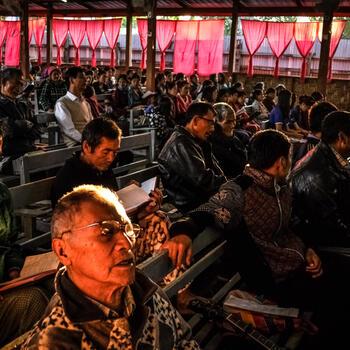 Lisu Christians gather for a church service in Myitkyina, Myanmar