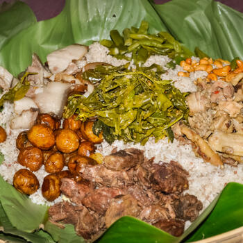 A feast to be eaten with the hands in northern Myanmar's Kachin State