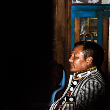Pator Jesse, from China's Nujiang River Valley, attends a religious function in northern Myanmar's Kachin State