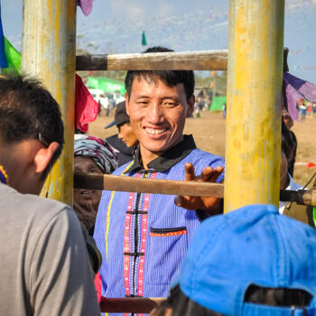 Sizing up the sword ladder at Kuoshi Festival in northern Myanmar