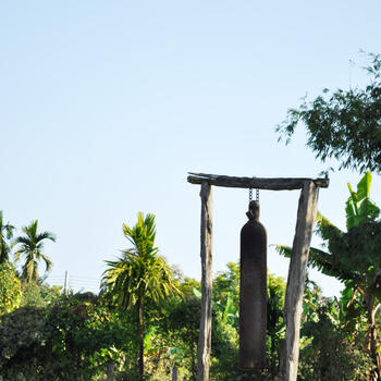 A bomb casing from World War II serves as a church bell in Myanmar's Kachin State