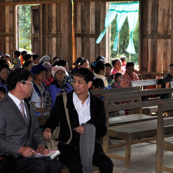 Visiting Lisu pastors from China meet their Burmese counterparts at a church in Putao, Myanmar