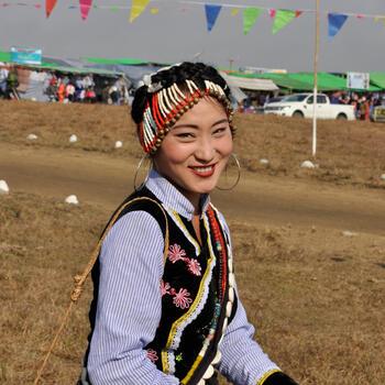 A Lisu woman attends Kuoshi Festival in Putao, Myanmar