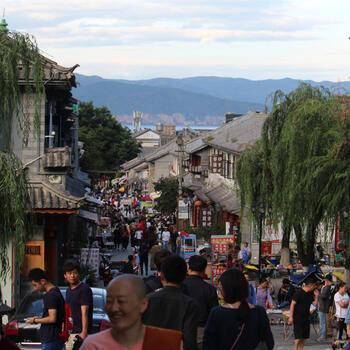 A busy shopping street in Dali Old Town, Yunnan