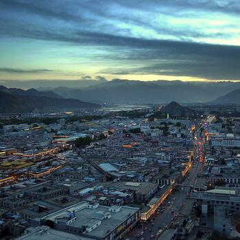 Drone shot of Lhasa