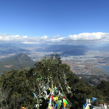 View over Lijiang valley from Wenbi Mountain