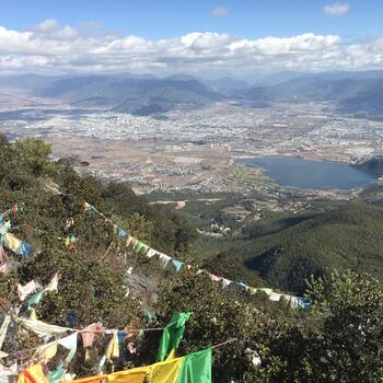 City of Lijiang and Wenbi Reservoir as seen from Wenbi Mountain