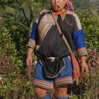 Lahu woman enjoying a smoke in Lincang Prefecture, Yunnan