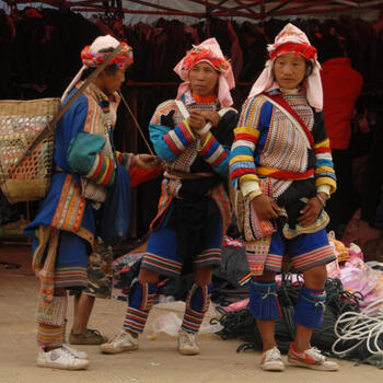 Shopping at the outdoor market in Nanmei, Yunnan