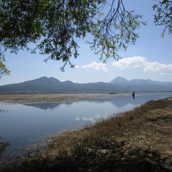 Saddle Mountain (left) and Wenbi Mountain (right) over Lashi Lake