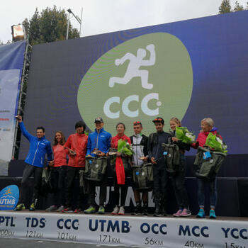 Yao Miao and Qi Min together on UTMB podium (image credit: Pavel Toropov)