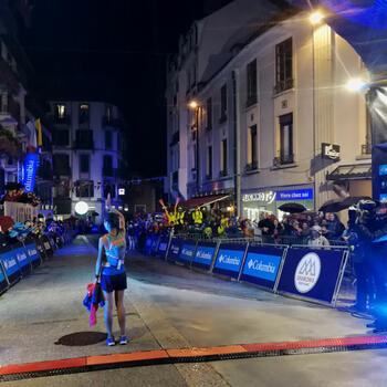 Yao Miao seconds after she has won at UTMB. She was embarrassed by the attention but the crowds loved her (image credit: Pavel Toropov)